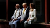 Prime Minister Narendra Modi, US President Donald Trump and First Lady Melania Trump at the Sabarmati Ashram Photo: Reuters