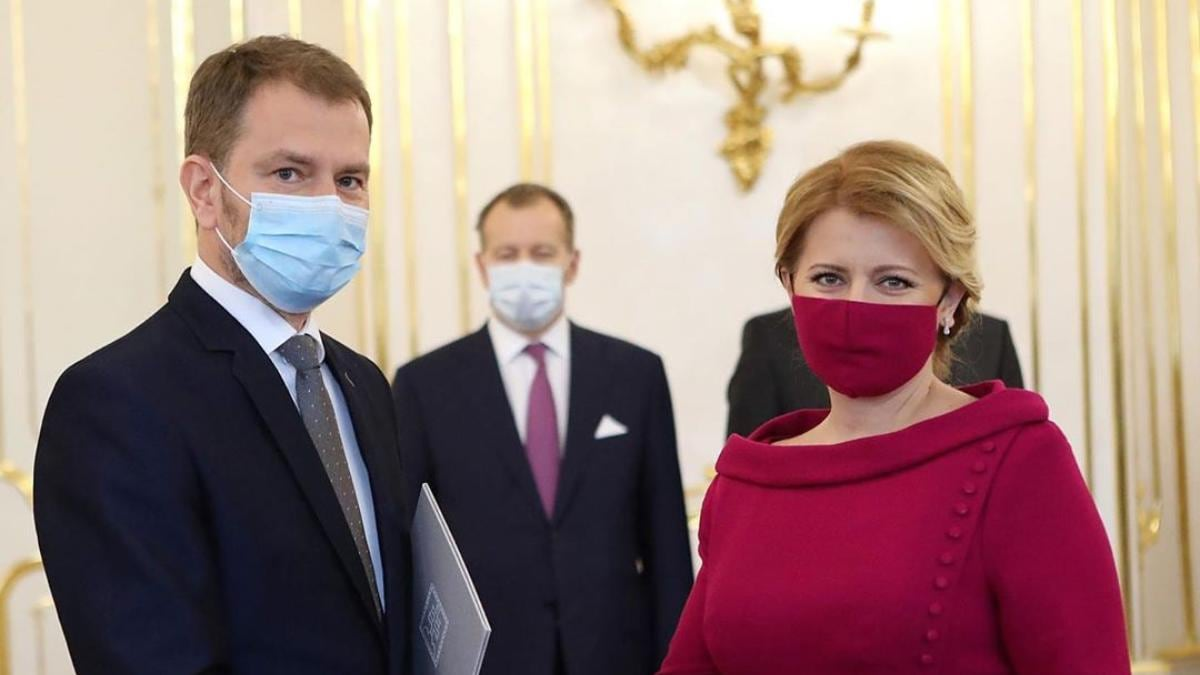 President Of Slovakia Wears Face Mask Matching Her Dress At
