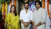 Pawan Kalyan graces pooja launch of Sai Dharam Tej and Nivetha Pethuraj's film. See pics