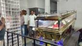 Mortal remains of DMK General Secretary K Anbazhagan kept at his residence in Kizhpakkam