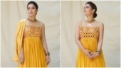 Kajol in yellow maxi dress does summer fashion right for film promotion. All pics