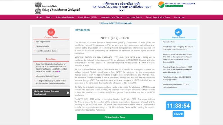 Neet Admit Card 2020 Date And Time Here S How To Download Nta Neet Hall Tickets Ntaneet Nic In Education Today News