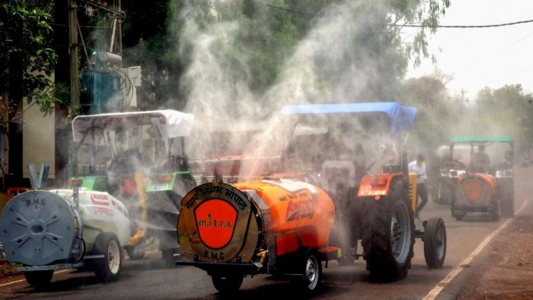 A modified tractor being used to spray disinfectants in Bhopal on April 18