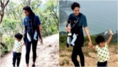 Lisa Haydon takes her kids up a mountain in Hong Kong. See pics