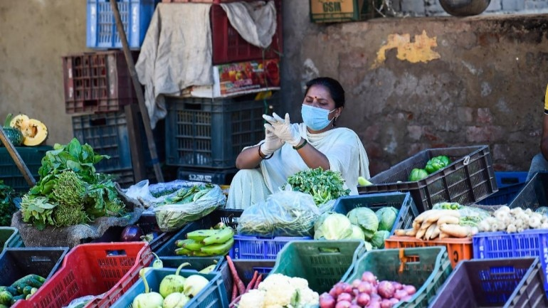 A vegetable seller in New Delhi photographed on April 6