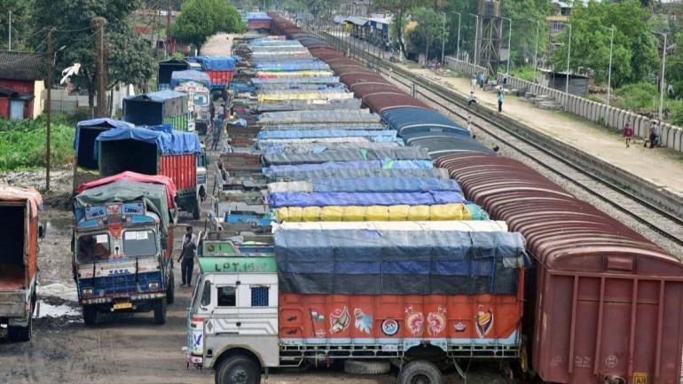 Trucks parked in Assam's Nagaon on April 17