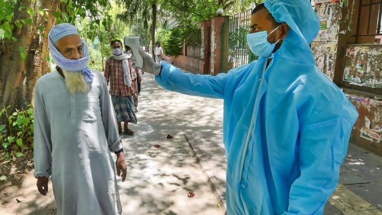 A man getting his temperature checked in Delhi on April 27