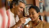 Milind Soman cheers up wife Ankita Konwar on Rongali Bihu with egg fight. Adorable pic