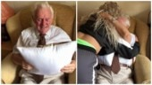 Carer gifts old man a pillow with late wife's photo. Viral video has Internet crying happy tears