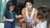Lockdown diaries: Karanvir Bohra gets beauty treatment from twin daughters Bella and Vienna