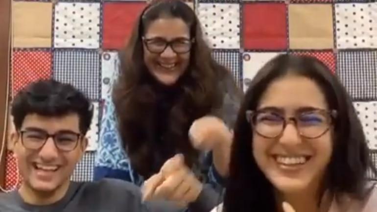 Sara Ali Khan took a viral TikTok challenge with Ibrahim Ali Khan and Amrita Singh.
