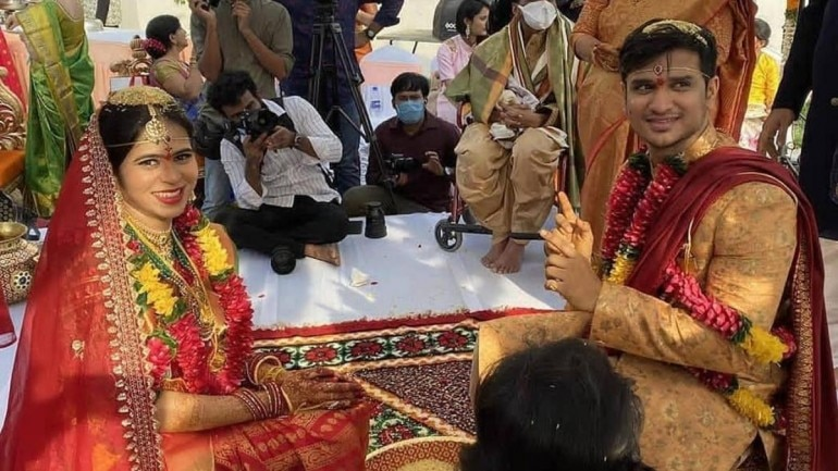 Pallavi Sharma and Nikhil Siddhartha in their wedding
