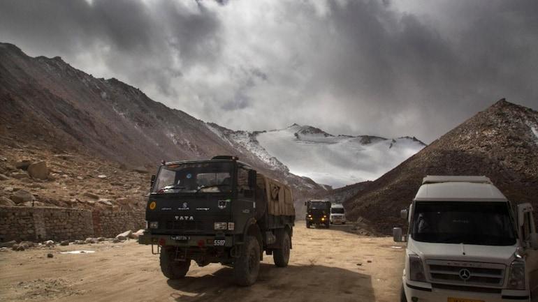 [FILE PHOTO] Indian Army truck crosses Chang la pass near Pangong Lake in Ladakh