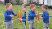 Two little boys laugh out loud while sharing orange soda from a bottle. Adorable viral video