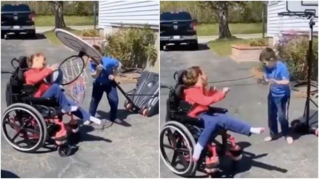 Video of a brother helping specially-abled sister score a basket leaves Twitter teary-eyed