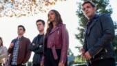 Brandon Flynn as Justin Foley, Dylan Minnette as Clay Jensen, Alisha Boe as Jessica Davis and Christian Navarro as Tony Padilla in a still from Episode 8 of 13 Reasons Why Season 4.