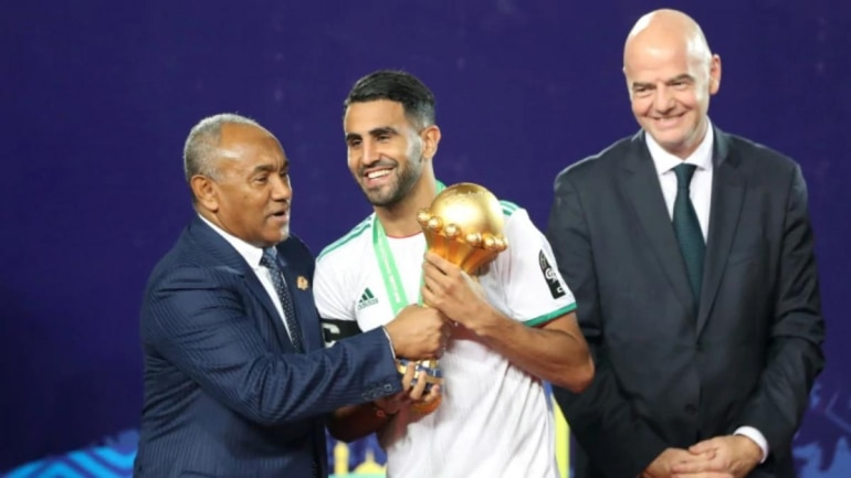 Algeria's Riyad Mahrez receives Africa Cup of Nations 2019 from CAF President. (Reuters Photo)