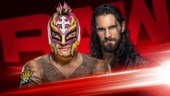 Seth Rollins hosted Rey Mysterio's retirement ceremony on WWE Raw. (@WWE Photo)