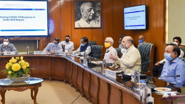 Union Home Minister Amit Shah and Union Health Minister Dr Harsh Vardhan during the meeting on Thursday