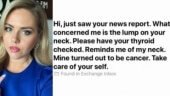 Reporter gets email from woman asking to get lump in her throat checked. Turns out it was cancer