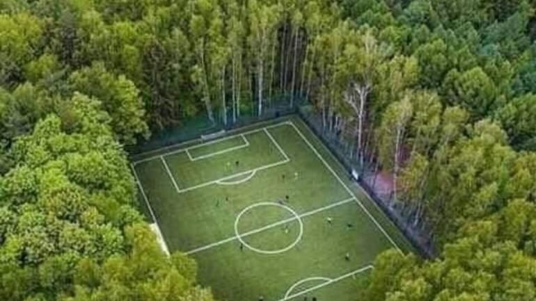 Fact Check Stunning Image Of Football Field Encircled By Forests Is Not From India Fact Check News