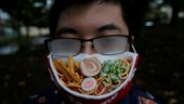 Tired of foggy glasses, Japanese artist creates ramen face mask to complement them