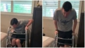 Quadriplegic man stands out of wheelchair on his own for the first time. Emotional video