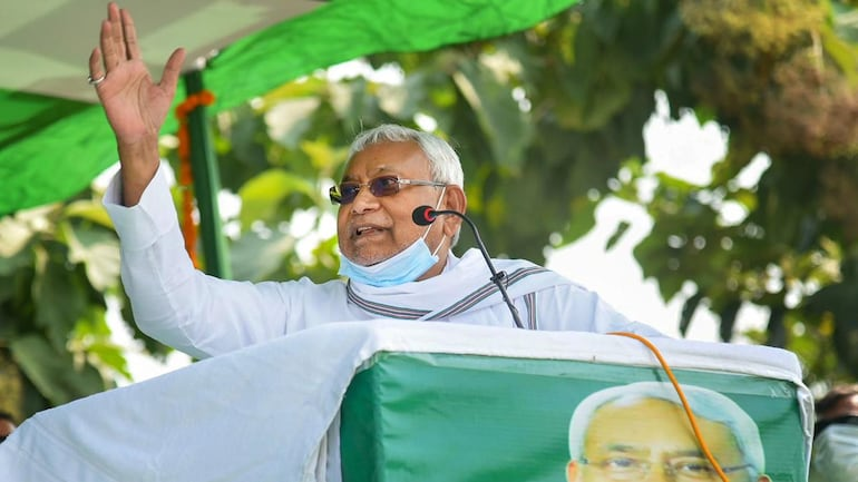 Bihar Chief Minister Nitish Kumar addressing a rally in Sherghati in Gaya district on October 19