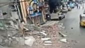 CCTV captures Hyderabad woman's narrow escape as building collapses