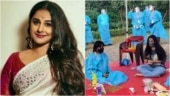 Vidya Balan resumes Sherni shoot in MP jungle with all crew in PPE suits. See pics