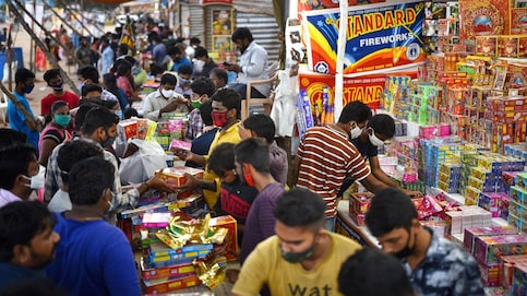 [REPRESENTATIVE IMAGE] People buying firecrackers on Friday at PWD Grounds in Vijayawada