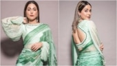 Hina Khan adds retro touch to Rs 35k abstract print saree with a backless blouse