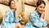 Hina Khan will 'blue' your mind away in this ruffle dress. All pics