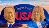 Sudarsan Pattnaik congratulates Joe Biden and Kamala Harris with sand art on Puri beach