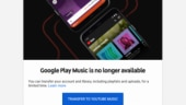 Google Play Music becomes defunct, users directed to YouTube Music