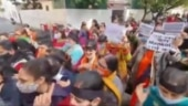 Jammu: BJP women's wing protests against derogatory remarks by Panthers Party chief Balwant Mankotia