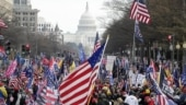 Four stabbed as pro and anti-Trump demonstrators clash in Washington