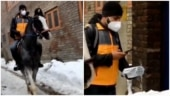 Amazon delivery man rides horse amid snowfall in Srinagar to drop off order. Viral video