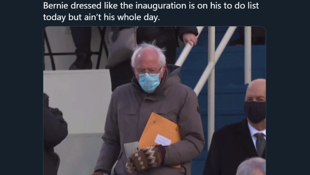 Bernie and his mittens at the inauguration Bernie Sanders mittens Biden inauguration Harris Bernie is awesome
