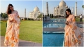 Mouni Roy poses in front of the Taj Mahal in this Rs 25k floral saree