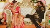 Meghana Raj and Chiranjeevi Sarja's throwback photo from reception goes viral. See pic