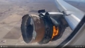 United Airlines engine bursts into flames midair before landing: Watch