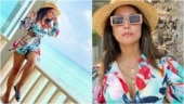 Hina Khan shows her happy place posing in colourful co-ords in Maldives