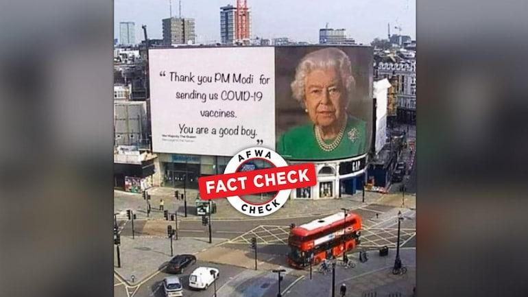 Có phải Hình Nữ Hoàng Elizabeth II cảm ơn Thủ Tướng Ấn Độ Modi vì được giúp đỡ thuốc chủng ngừa COVID-19 là thật? .