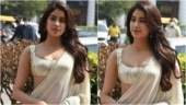 Janhvi Kapoor in sheer yellow saree and sequinned bralette turns up the heat in Delhi