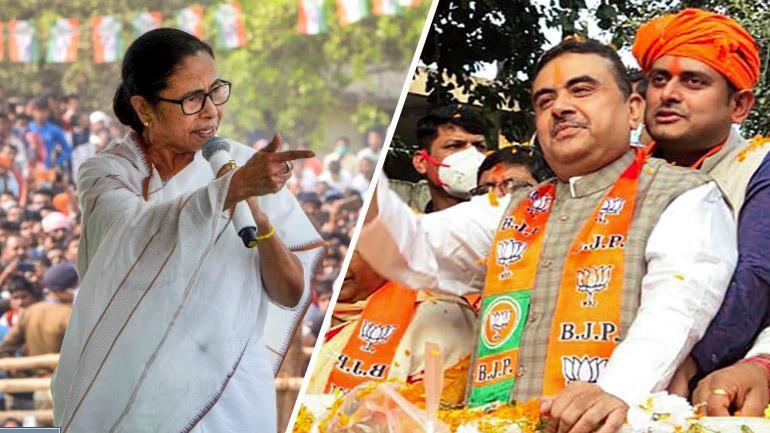 File photos of Bengal CM Mamata Banerjee and BJP's Suvendu Adhikari