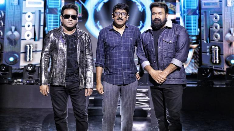 (L-R) AR Rahman, B Unnikrishnan and Mohanlal at the shooting spot of Aaraattu.