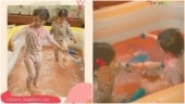Taimur Ali Khan and Inaaya celebrate Holi with a pool party