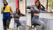 Hina Khan in Rs 3k crop top and leggings hits the gym with boyfriend Rocky Jaiswal