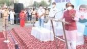 Madhya Pradesh CM Shivraj Singh Chouhan holds yatra in Bhopal to urge people to wear masks amid Covid surge
